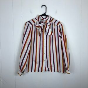 Vintage Striped Tie Neck Knot Sleeve Blouse Sz 8